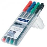 Staedtler Lumocolor® Universalstift, permanent, Permanentstift hervorragend wisch- und wasserfest auf fast allen Flächen, 1 Packung = 4 Stück, farbig sortiert, F