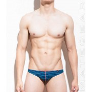 Mategear Shin Young Flat Front Extremely Sexy Mini Thong Underwear Blue Wave 770402