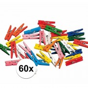 Haza 60x miniknijpertjes gekleurd