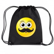 Bellatio Decorations Nylon emoticon smile snor rugzak zwart met rijgkoord