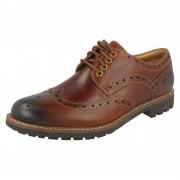 Clarks Mens Clarks Formal Brogue Shoes Montacute Wing Dark Tan (Brown) UK 7