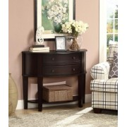 Espresso finish wood hall console / sofa table with lower shelf and two storage drawers