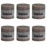 6 x Bolsius Rustic Pillar Candle 100 x 100 mm Taupe