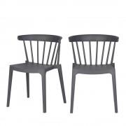 Woood Bliss - 2 chaises d'extérieur contemporaines - Couleur - Gris