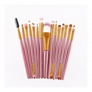 15pcs/Kit De Pinceles Cosméticos Maquillaje Maquillaje Belleza Herramienta Pincel De Pelo Sintético Pink&Gold
