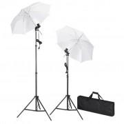vidaXL Kit de iluminação para estúdio com tripés e sombrinhas