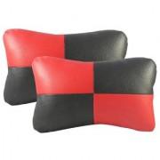 HMS Premium Quality Neck Rest Cushion (SET-1) for Fiat Grande Punto - Colour Black and Red