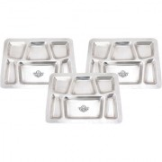 Taluka (15.7 x 11.9 in approx) Pure Stainless Steel 6 in 1 Compartment Plate Thali Bhojan Thali Steel Plate Set OF 3