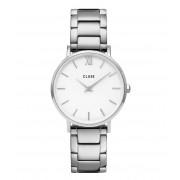 CLUSE Horloges Minuit Three Link Silver Colored White Zilverkleurig
