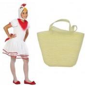 Merkloos Paaskip kostuum maat 116 met paasmandje voor meisjes - Carnavalskostuums