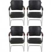 Fabsy Interior - Fabsy Interiors'S Black Leatherette Visitor Chair With Wooden Handle Set Of 4