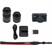 Canon »EOS M200 EFM 15-45mm + EFM 55-200« Systemkamera (EF-M 15-45mm f/3.5-6.3 IS STM, EB EF-M55-200mm f/4.5-6.3 IS STM, 24,1 MP, Bluetooth, WLAN (Wi-Fi)