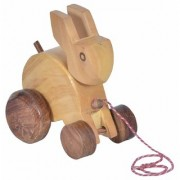 UMAGRI Wooden Rabbit Toy Pull Along with Rabbit