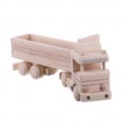 Jucarie din lemn natur model tir cu remorca