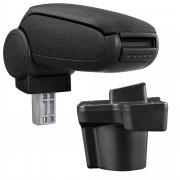 [pro.tec]® Naslon za ruke – specifičan za Mazda 2 (DJ) - naslon za ruke za auto - sa pretincem - tkanina - crno