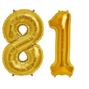 Stylewell Solid Golden Color 2 Digit Number (81) 3d Foil Balloon for Birthday Celebration Anniversary Parties
