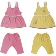 Jo kids wear Baby Girl Cotton Dress Set (Top and Pants) Multi Color Set of 2