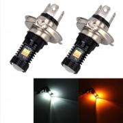 2 Pcs H4 DC 12V 5W 350LM Auto Coche Niebla Luces Con 16 Smd-3030 Bombillas LED, Blanco + Amarillo Luz