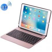 F07 for iPad Pro 12.9 inch Portable Foldable Aluminium Alloy Wireless Bluetooth Backlight Keyboard (Rose Gold)