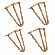 [en.casa]® Hairpin leg hajtűláb 20 cm stílusos asztalláb 4 darabos szett réz háromágú