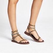 River Island Womens Khaki stud gladiator sandals (6)
