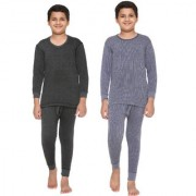 Vimal-Jonney Premium Blended Multicolor Thermal Top&Bottom Set For Boys(Pack Of 2)
