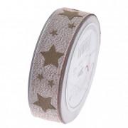 Szalag glitteres csillagokkal 25mmx20m púder