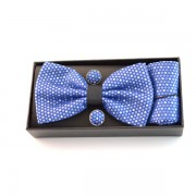 Papion, butoni si batista bleu cu model alb in cusatura