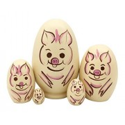 Pivizon Pivizon 5pcs Egg Shape Cute Animal Russian Nesting Dolls Wooden Handamde Matryoshka Nested Dolls for Kids Toy Birthday Christmas Gift