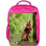 Snoogg Eco Friendly Canvas Babies Fox Designer Backpack Rucksack School Travel Unisex Casual Canvas Bag Bookbag Satchel 5 L Backpack(Pink)