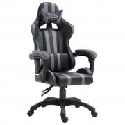 vidaXL Геймърски стол, сив, полиуретан