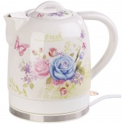 Rosenstein & Söhne Keramik-Wasserkocher mit Blumenmuster, 1,7 Liter, 1.500 Watt