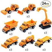 24PCS Play Vehicles Constructions Truck Car Toy Set for Kids, Mini Die-cast Model Vehicles with Forklift, Bulldozers, Tank Truck and More Construction Cars for Birthday and Christmas Gift