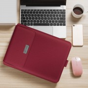 Universal Laptop Bag Laptop Sleeve Leather Bag with Stand Function for MacBook 11/12 inches - Red