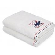 Set Prosoape De Baie Beverly Hills Polo Club White, 100% bumbac, 2 bucati, alb, 70x140 cm
