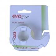 Banda Adeziva EVOffice de 19mm cu Dispenser Plastic Transparent - Echipamente Birotica