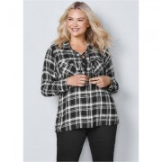 Plus Size Plaid Lace UP TOP Tops - Black/multi/neutral