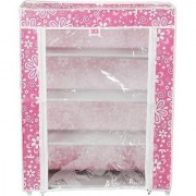 Multipurpose Storage Unit Organiser for Cloths/Shoes Wrought Iron Frame and Fabric Shelfs and Cover Wardrobe/Shoe rack