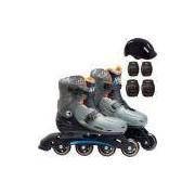 Patins Infantil Fun 04 Rodas com Acessórios de Proteção - Ajustável Tam. 37 a 40 - Hot Wheels Race