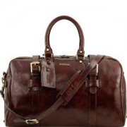 TUSCANY LEATHER Grand Sac de Voyage Cuir avec Boucles Voyager Marron -Tuscany Leather-