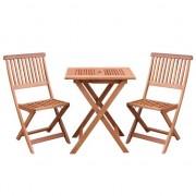 Set pliabil masa cu 2 scaune pentru balcon sau gradina, Strend Pro Caracas, lemn de meranti, max.150 Kg, maro FMG-SK-802337