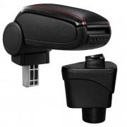 [pro.tec]® Lakťová opierka pre Ford EcoSport II - čierny koženkový poťah - červené prešívanie