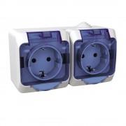 Cedar Plus IP44 vízmentes földelt dupla csatlakozóaljzat (dugalj) gyermekvédelemmel, csapófedéllel, 2x2P+F, fehér színben, komplett szerelvény, falon kívül, vízmentes (IP44) 16A 250V (Schneider Electric WDE000525)