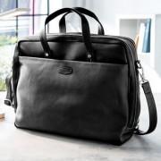 Oconi Multiway-Businesstasche, RFID-Schutz, Laptop-Tasche, schwarz, Rucksack, Rindleder