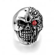 Nemesacél koponya gyűrű - piros kővel