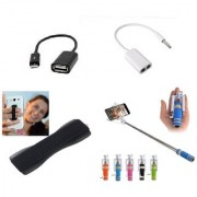 (S08) Combo of Selfie Stick OTG Cable Splitter Cable and Finger Grip (Assorted Colors)