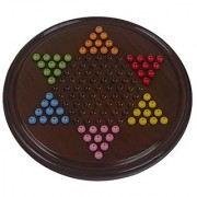 Fine Craft India Wooden Chinese Checker Board Games with Plastick Beads (Extra 2 Beads for Each 6 Color )
