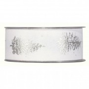 Szalag fenyőfa mintával 40mmx20m fehér, ezüst