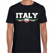 Bellatio Decorations Italie / Italy landen shirt met Italiaanse vlag zwart voor heren S - Feestshirts