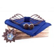 Dřevěný motýlek s kapesníčkem a manžetovými knoflíčky a broží Gaira 709212